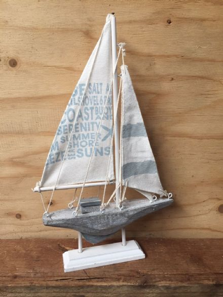 Grey & White Distressed Boat Nautical Ornament with Text on Sails
